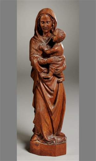Continental Carved Wood Figure, Madonna & Child