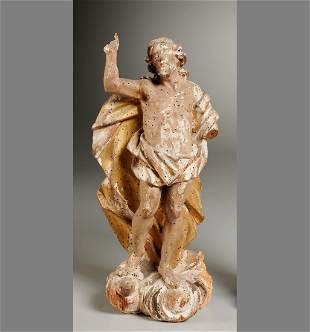 Italian Carved Wood Sculpture, Figure of Christ
