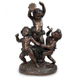 Antique French Signed Bronze Putti Figural Sculpture