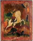 Large 17th c Russian Icon St George and the Dragon