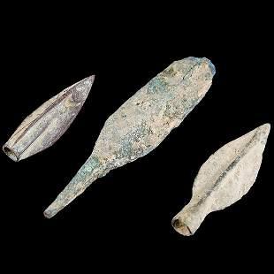 3 Ancient Anatolian Hittite Bronze Arrowheads: 1400 BC