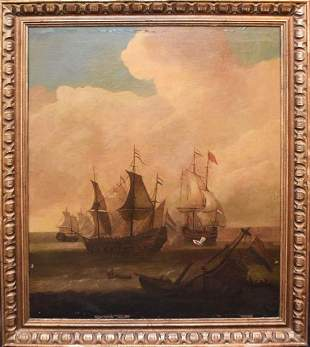 Romantic Era Marine Oil Painting After Robert Cleveley