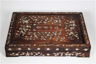 Chinese Zitan Wood Casket Box w/ Mother of Pearl Inlay