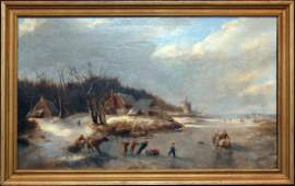 19th c Landscape Oil Painting by Anton Doll