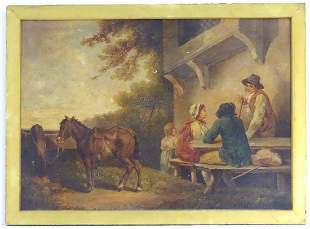 18th c. George Morland Figural Landscape Oil Painting