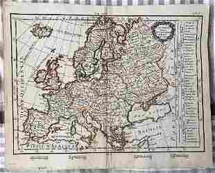 Original 18th c. H/C Engraved Lattré Map of Europe