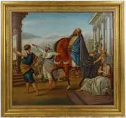 """Italian Figurative Oil on Board """"Emperor"""