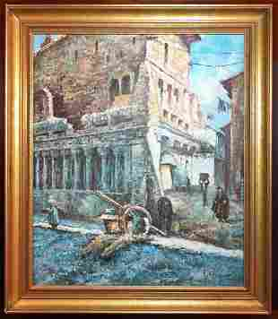 19th c. Streetscape Oil Painting by Frank Renault