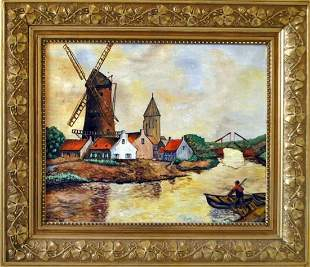 Original Dutch Landscape / Riverscape Oil Painting by