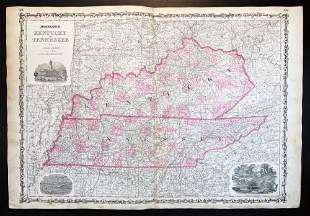 Civil War Dated 1st Ed. Map Johnson's Kentucky and Tenn