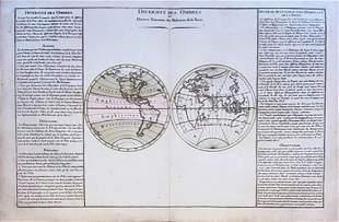 17th c. H/C Engraved Map DIVERSITÉ DES OMBRES ET DIVERS