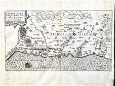 16th c. Map, Israel, Middle East - TRIBUS ASER