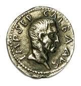 Rare Roman Empire Coin of Galba (AD 68-69). AR Denarius