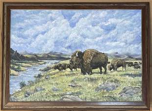 Wildlife Landscape Oil Painting by Mitchell Chambnerlai