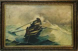 Large Antique French Marine Oil Painting