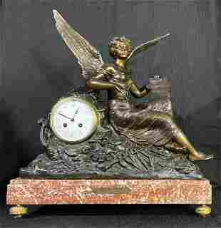 Antique French Bronze & Marble Mantel Clock