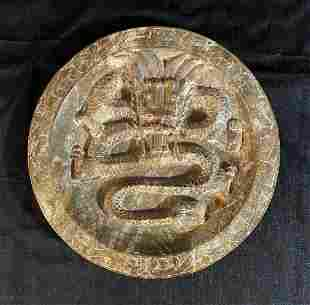 Chinese Hand-Carved High-Relief Jade Stone Plate