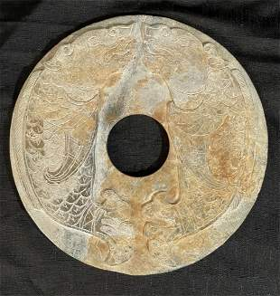 Antique Chinese Hand-Carved Jade Stone Bi Disc