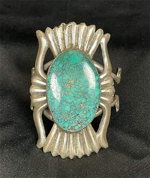 Sand Casted Sterling Silver Turquoise Cuff Bracelet