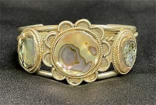 Navajo Sterling Silver Abalone Shell Cuff Bracelet