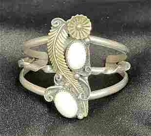 Vintage Signed Sterling Silver Opal Cuff Bracelet