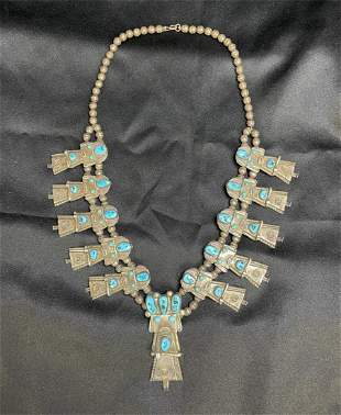 Early Vintage Navajo Sterling Silver Turquoise Necklace