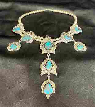 Vintage Native American Sterling Silver Turquoise Neckl