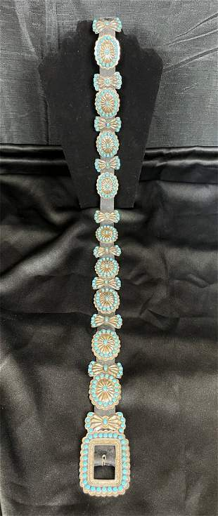Signed Navajo Sterling Silver & Turquoise Concho Belt