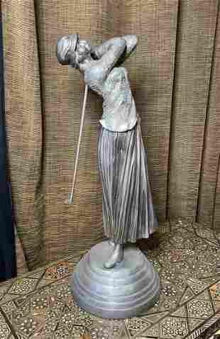 Art Deco Silvered Bronze Sculpture After Chiparus