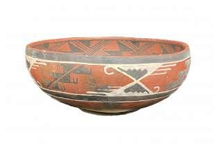 Antique Southwestern Polychrome Terracotta Pottery Bowl