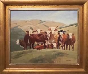 American Western Oil Painting by Nancy Becker CATTLE