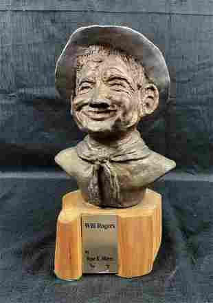 Limited Ed. Bronze Sculpture WILL ROGERS by Rose Mayer