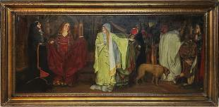Large Antique Figural Oil Painting ROYAL COURT