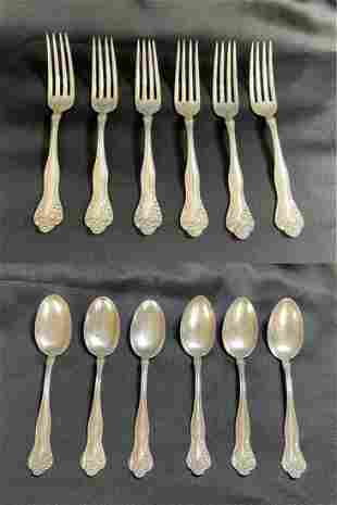 12 Simpson Hall and Miller Sterling Silver Flatware