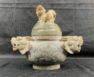 Large Antique Chinese Hand-carved Stone Incense Bowl
