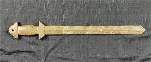 Archaic Chinese Hand-Carved Jade Stone Sword