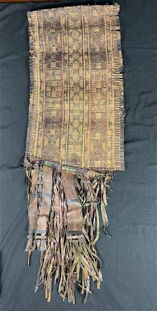 Vintage / Antique Mauritania Tuareg Woven Straw Leather