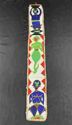 Lrg Vintage Yoruba Beaded Ceremonial Sash, Nigeria