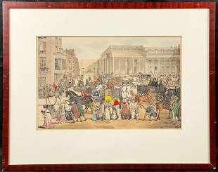 H/C Engraving by Eugène Lami, London Main Street at 5