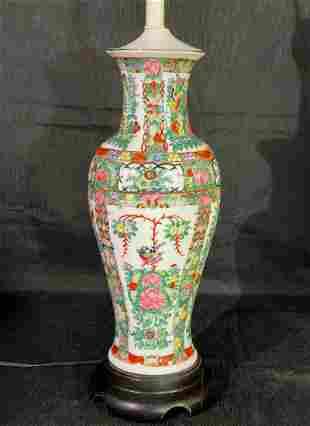 Chinese Hand-Painted Rose Medallion Porcelain Urn Vase