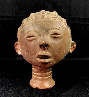 African Akan Nsodie (Memorial Head) Ceramic Portrait Sc