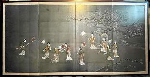 Large Vintage Japanese Signed Quadriptych Woodblock