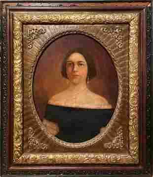 Antique 19th c. Portrait Oil Painting of a Lady