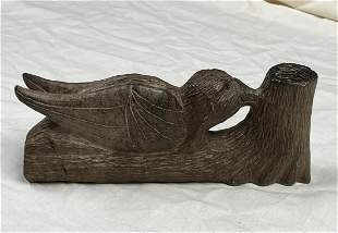 Native American Hand Carved Bird Effigy Steatite Pipe