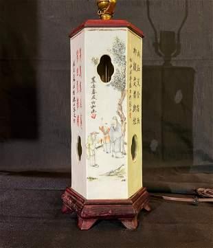 Vintage Chinese Hand-Painted Porcelain Lantern Vase