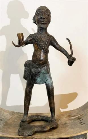 African Tribal Bronze Male Sculpture