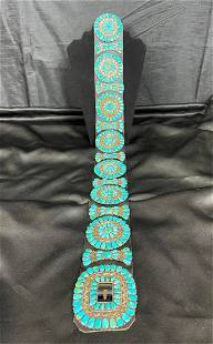 Navajo Heavy Sterling Silver & Turquoise Concho Belt