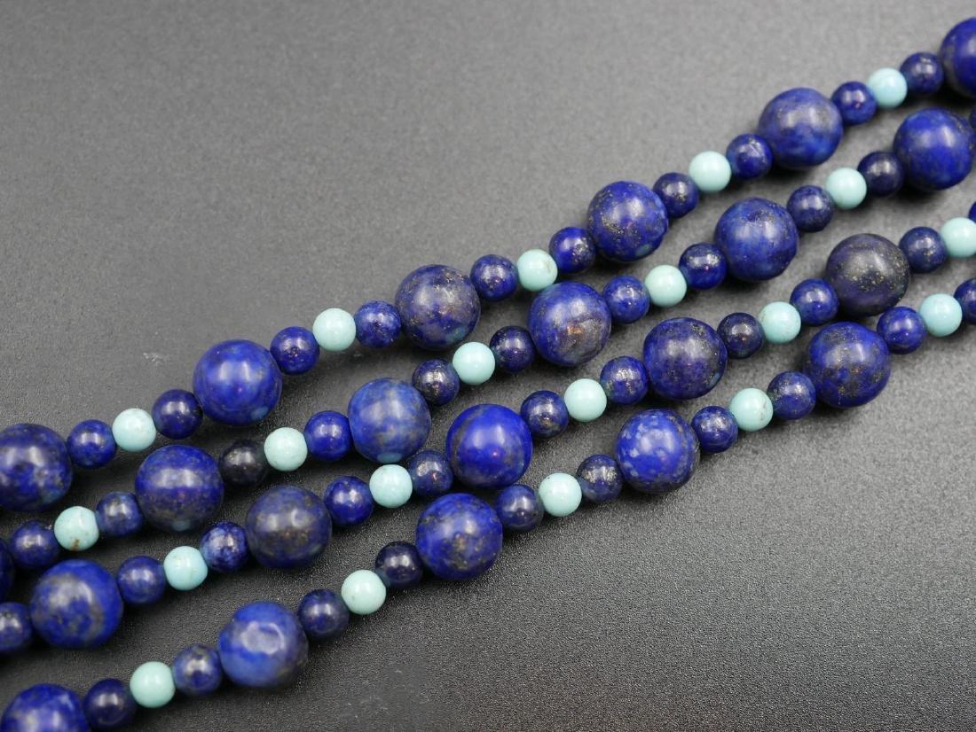 Sautoir de lapis lazulis et turquoises - Longueur 90cm