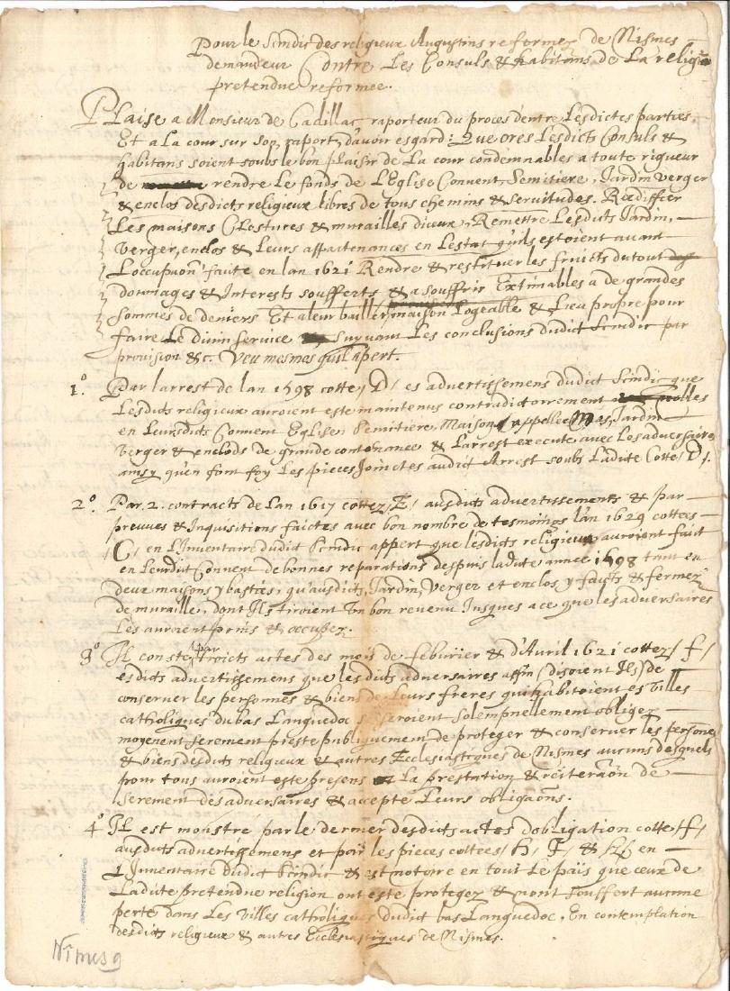 A15. NÎMES. 11 pièces manuscrites, Nîmes 1632-1675.