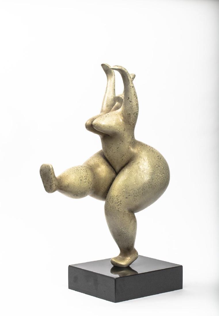 La danseuse onduleuse - Bronze à pâtine dorée sur un pi